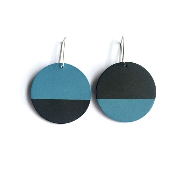 Round black and blue porcelain earrings with sterling silver hooks.