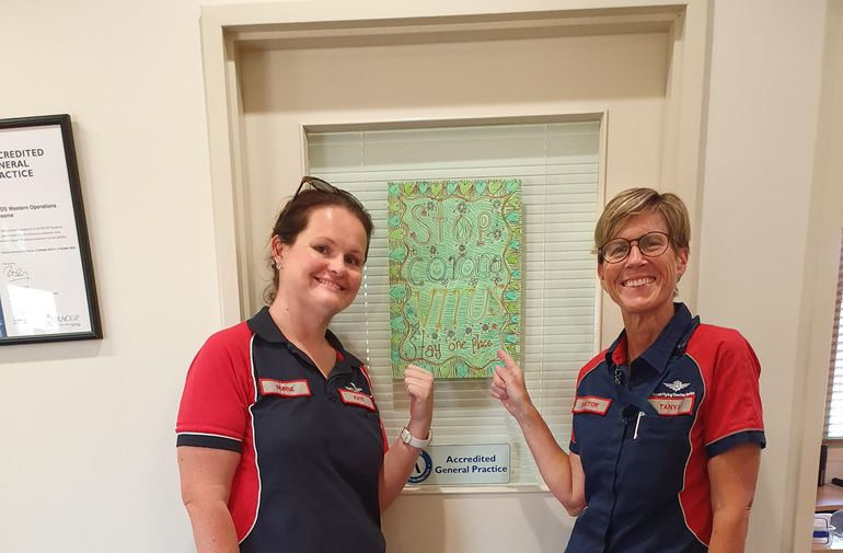 Posters designed by Yakanarra Community School students feature atthe RFDS  Broome base