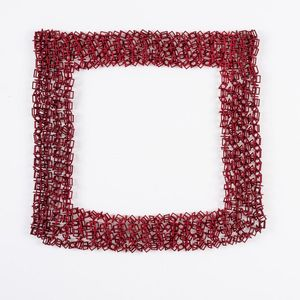 Red necklace made from interlocking crosses and Circles