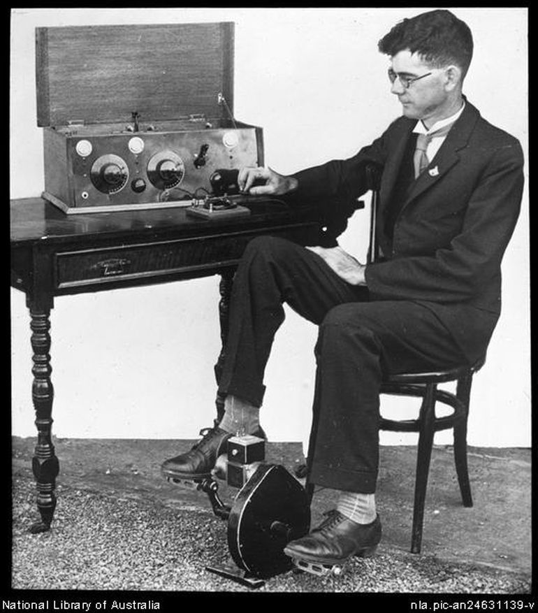 Traeger in 1929 with his pedal powered radio