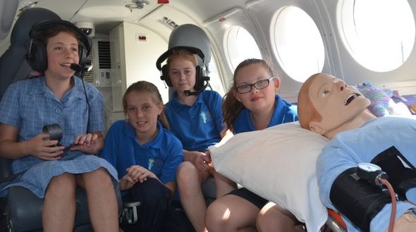 Students from the King Island District school enjoy the simulator