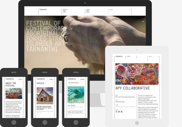 Screenshots of the Tarnanthi 2017 website: Homepage on desktop view, event and landing pages on mobile and tablet.