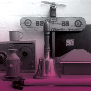 A photo of a collection of objects including a book, picture of a house, radio set, hammer in black and white with a pink haze.