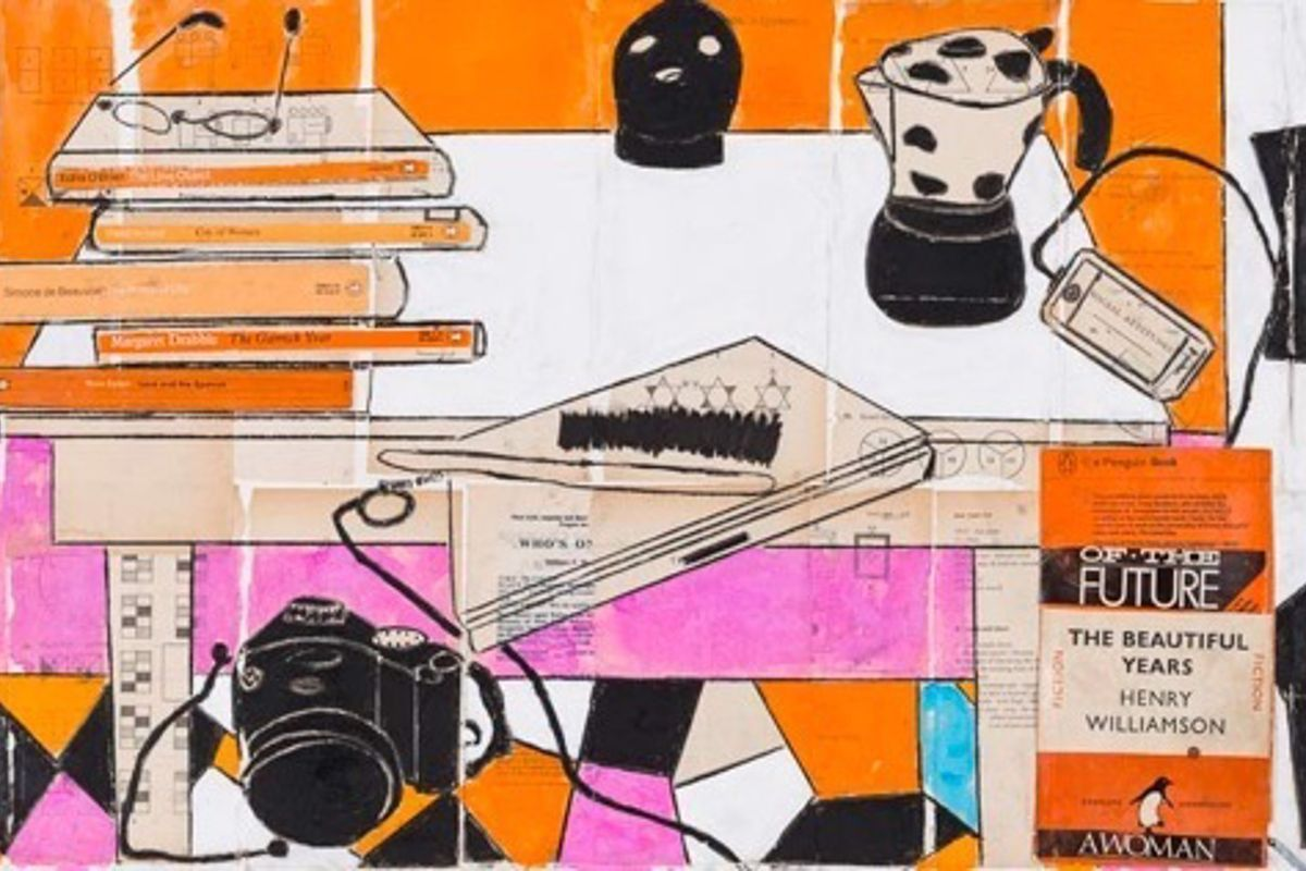 painted images in orange and black of a camera, book cover, coffee pot, glasses and table.