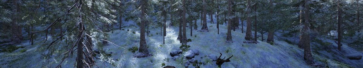 A computer generated image of a forest with trees and snow