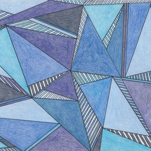 Various shades of blue triangles drawn in pencil