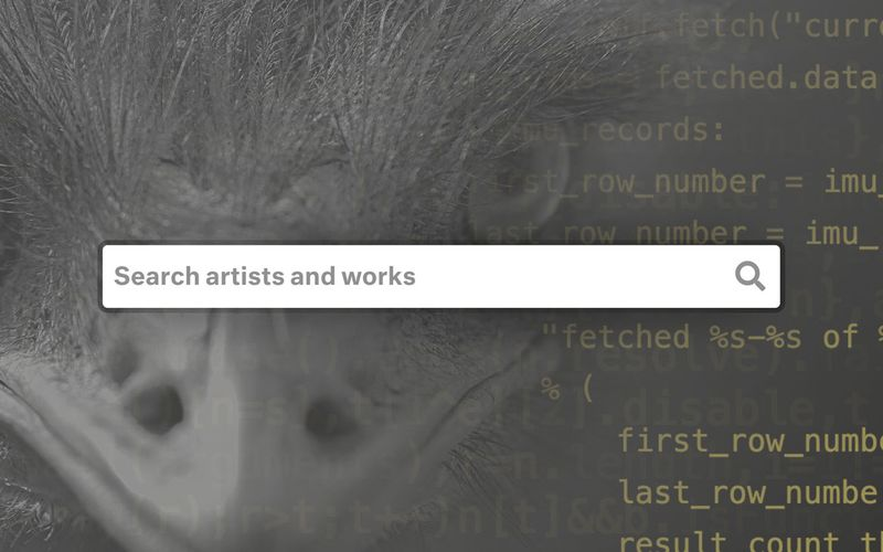 Closeup of an Emu with Python code and a search bar overlaid on top