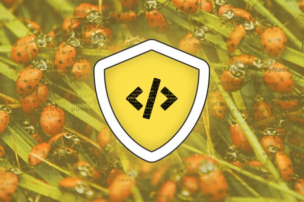 Digital illustration showing the symbol for code within a shield surrounded by a photo of an infestation of insects.