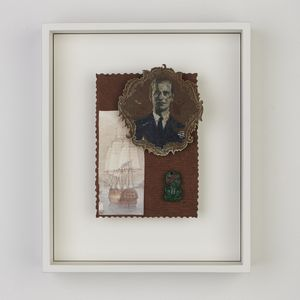 Framed collage, including a male portrait, a sailing ship and a jade tiki