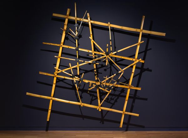 Gail Mabo, Piadram people, Mer (Murray Island), Torres Strait Islands, born Queensland 1965, Tagai, 2020, bamboo, cotton, shellac, plastic, 287.0 x 290.0 x 15.0 cm (irreg.); Purchased with funds provided by Vicki Olsson 2020 Art Gallery of New South Wales, Sydney © Gail Mabo