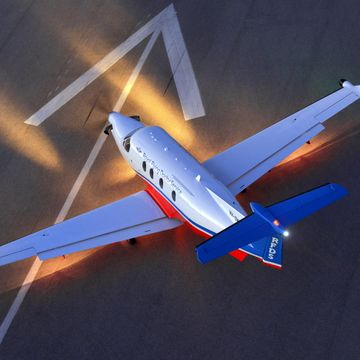 Plane with headlights