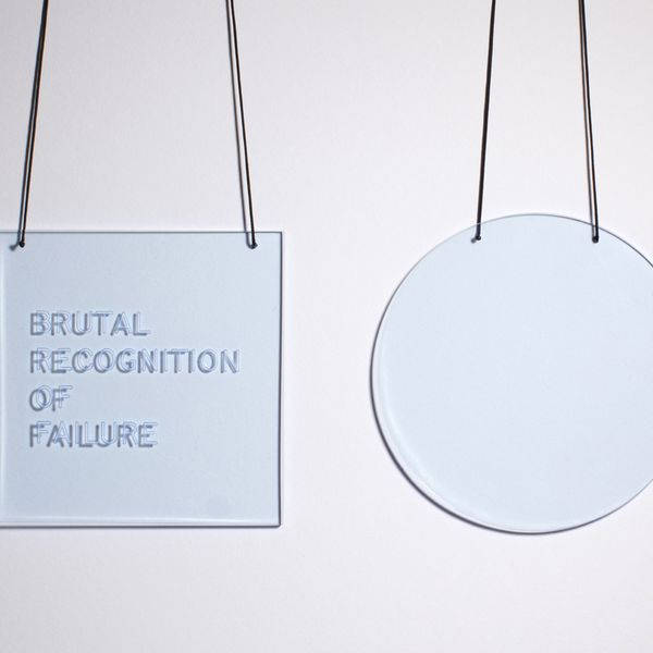 Zoe Brand, BRUTAL RECOGNITION OF FAILURE with SPACE (set of two pendants), 2020, Photo: Marshall-Brand Studio.