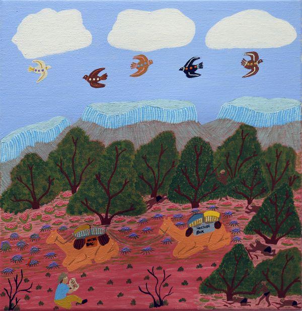 still: Nora Abbott, Pitjantjatjara/Western Arrernte people, South Australia/Northern Territory, born Areyonga, Northern Territory 1952, My Grandfather been tell me a lot of story about Lasseter, 2021, Mparntwe (Alice Springs), Northern Territory, HD video © Nora Abbott/Tangentyere Artists