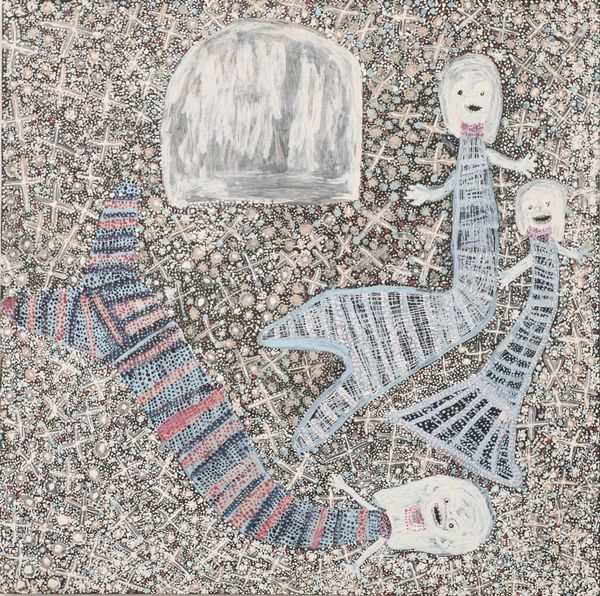 Djerrkŋu Yunupiŋu, Yolŋu people, Northern Territory, born Inglis Island, Northern Territory 1945, Mermaids and the Rock, 2020, Yirrkala, Northern Territory, earth pigments and recycled print toner on composite board, 121.0 x 121.0 cm; Private collection © Djerrkŋu Yunupiŋu/Buku-Larrŋgay Mulka Centre