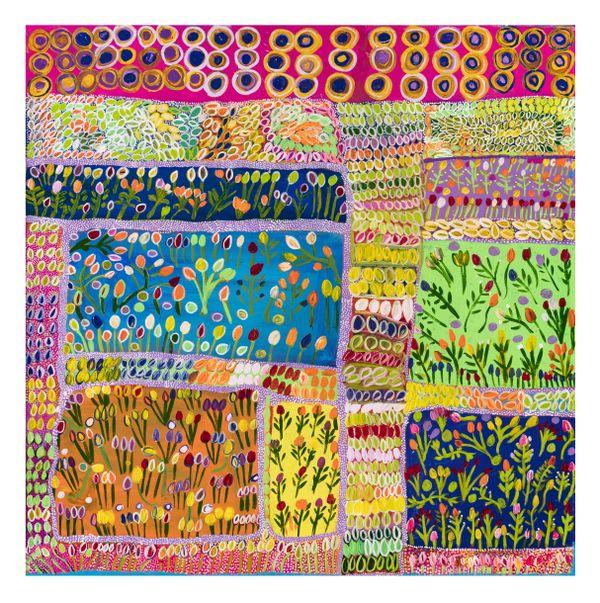 Gwenneth Blitner, Marra/Nunggubuyu people, Northern Territory, born Ngukurr, Northern Territory 1958, Ngukurr Cemetery N#3, 2021, Ngukurr, Northern Territory, synthetic polymer paint on linen, 100.0 x 100.0 cm © Gwenneth Blitner/Ngukurr Arts Aboriginal Corporation