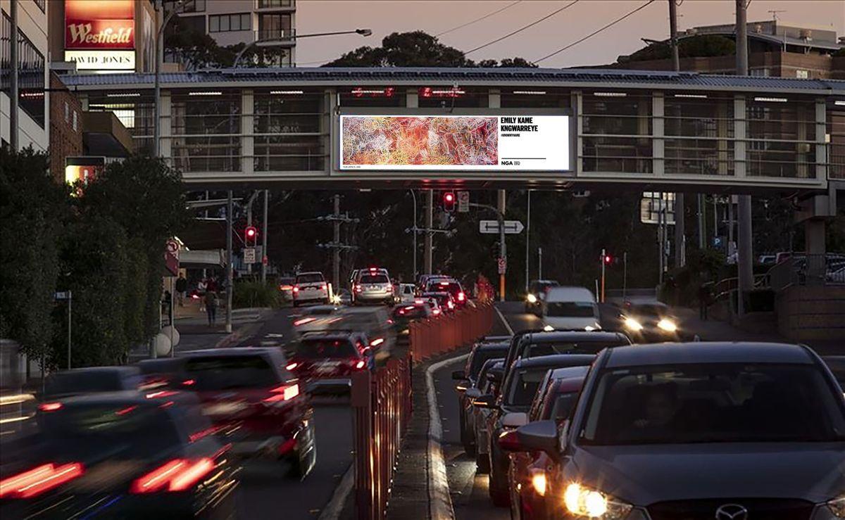 Emily Kame Kngwarreye's Yam awely on an ooh media billboard