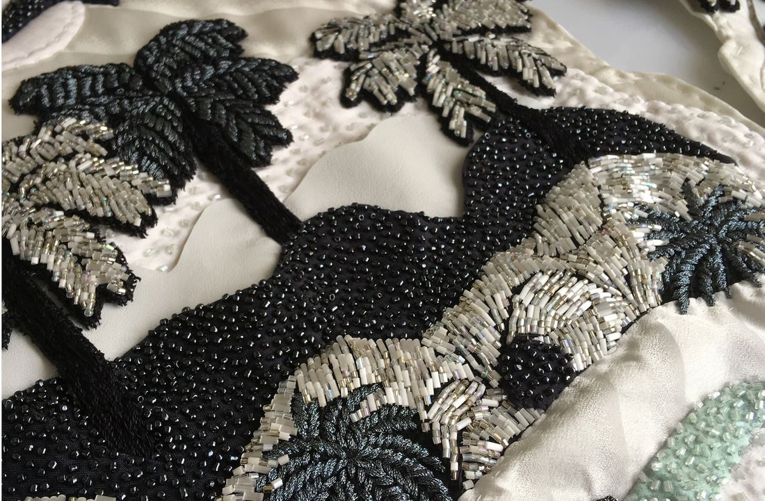 Welcome, Hand embroidered and beaded silk and leather applique By Soraya Abidin