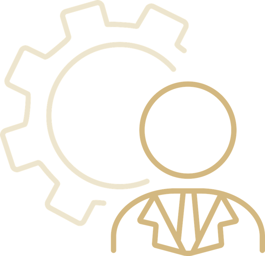 A symbol of a person with a machine cog to indicate the creation of jobs.