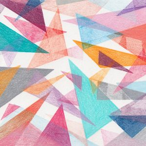 Colourful overlapping triangles drawn in pencil
