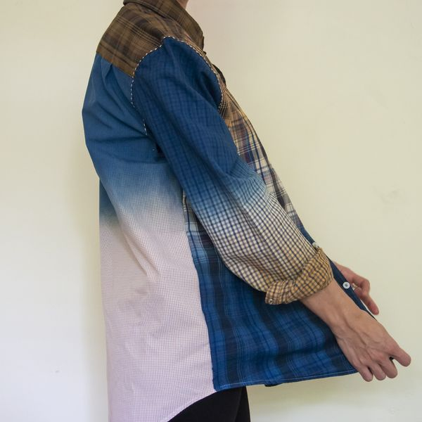 Hand made shirt assembled from pieces of other shirts by Eloise Rapp