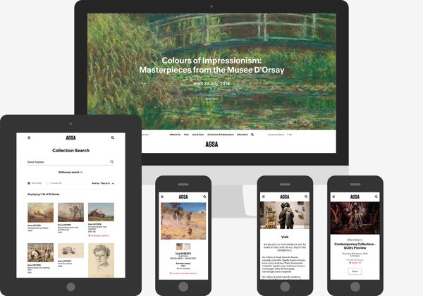 Screenshots of the Art gallery of South Australia website: Homepage on large desktop, online collection search on tablet and mobile, event and general information pages on mobile.