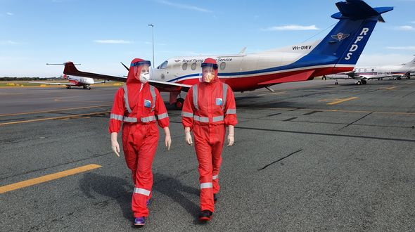 Loading a patient onto RFDS aircraft