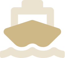 Stylised icon of a container ship