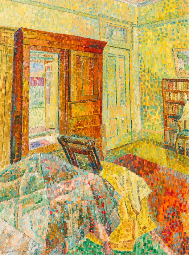 painting of bedroom in bright colours