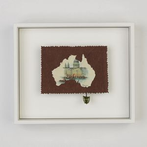 Framed artwork of the continent of Australia made from various Australiana memorabilia