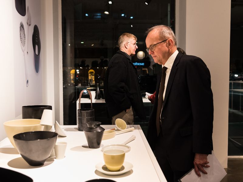 Adrian Collette AM at the launch of Living Treasures: Masters of Australian Craft Prue Venables. Photo Rhiannon Hopley.