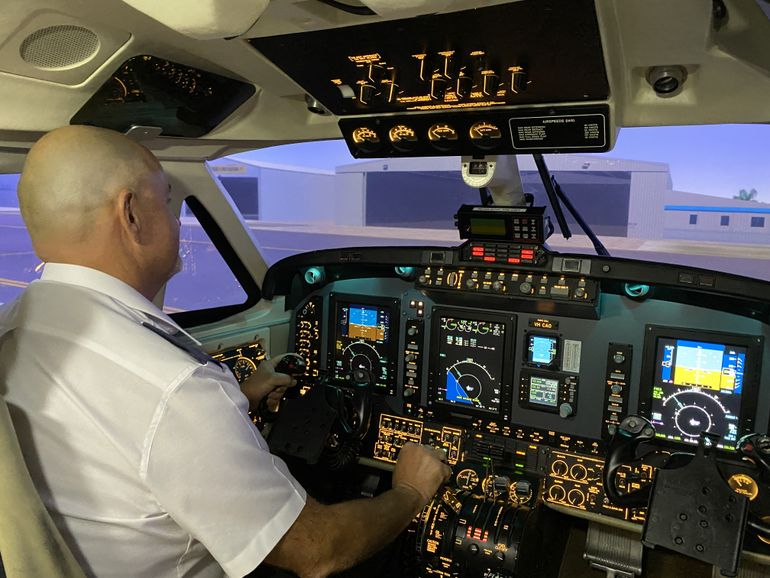 RFDS (Queensland Section) Pilot Mick Porfiri in the flight simulator