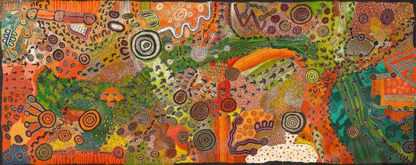 Sammy Tunkin, Pitjantjatjara people, South Australia, born Port Augusta, South Australia 1998, Imitjala Pollard, Pitjantjatjara people, South Australia born Mparntwe (Alice Springs), Northern Territory 1963, Casseyanne Woods, Pitjantjatjara people, South Australia, born Mparntwe (Alice Springs), Northern Territory 1996, Janice Woods, Pitjantjatjara people, South Australia, born Kalka, South Australia 1988, Venita Woods, Pitjantjatjara people, South Australia, born Kaltukatjara (Docker River), Northern Territory 1990, Elaine Woods, Pitjantjatjara people, South Australia, born Kaltukatjara (Docker River), Northern Territory 1969, Sophia Tunkin, Pitjantjatjara people, South Australia, born Mparntwe (Alice Springs), South Australia 2000, Teresa Baker, Pitjantjatjara people, South Australia, born Mparntwe (Alice Springs), Northern Territory 1977, Kaye Baker, Pitjantjatjara people, South Australia born Pukatja (Ernabella), South Australia 1955, Beryl Jimmy, Pitjantjatjara people, South Australia, born Fregon, South Australia 1970, Kani Patricia Tunkin, Pitjantjatjara people, South Australia, born Mparntwe (Alice Springs), Northern Territory 1981, Marita Baker, Pitjantjatjara people, South Australia born Fregon, South Australia 1968, Kalaya Tjukurrpa, 2020, Nyapari, South Australia synthetic paint on linen, 200.0 x 500.0 cm © the artists/Tjungu Palya