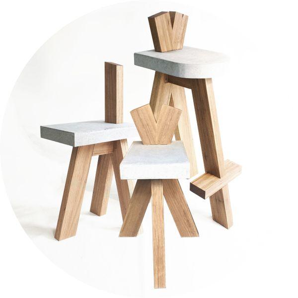 David Beck, Mu chair, Ben stool, Big Ben stool, 2017_Image courtesy of the artist