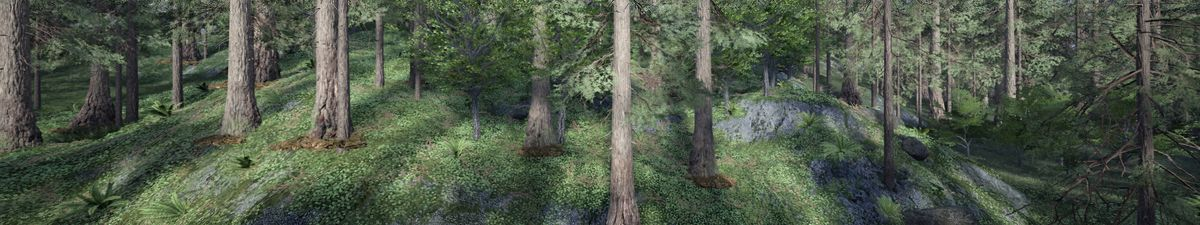 A computer generated image of a forest with trees and grass