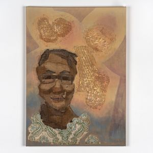 Painting of a female's portrait with textural textile elements