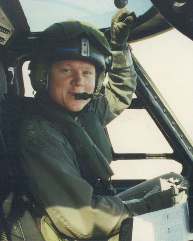 Glenn Todhunter as an Army Blackhawk helicopter pilot