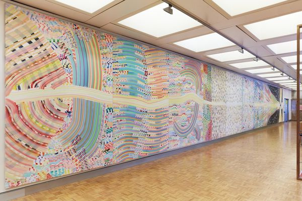 Photo of Richard Larters painting Big Bang  - A colourful expressive and abstract painting that is 21 meters wide