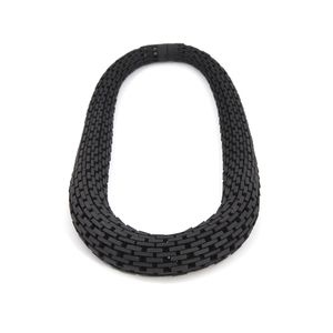 Black necklace made from interconnecting bricks