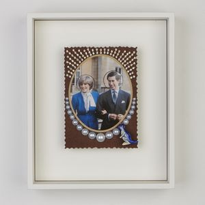 Framed collage of Princess Dianna and Prince Phillip adorned with dominates, pearls and a Kangaroo
