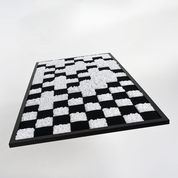 Black and white stitched checkers