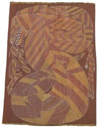 A bark carving by artist John Mawurndjul of Ngalyod, the Rainbow Serpent at Dilebang