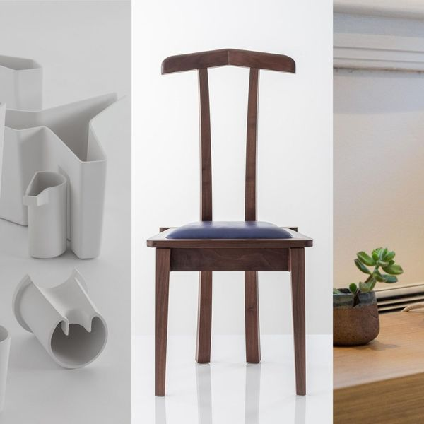 System Vase by John Wardle and John Lloyd, Valet Chair for Him by Ian Bromley and Lucidum lamp by Josh Riesel