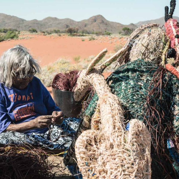 Tjunkaya Tapaya (Tjanpi Desert Weavers) is one of 14 artists in Obsessed: Compelled to make. Photo: Angus Lee Forbes