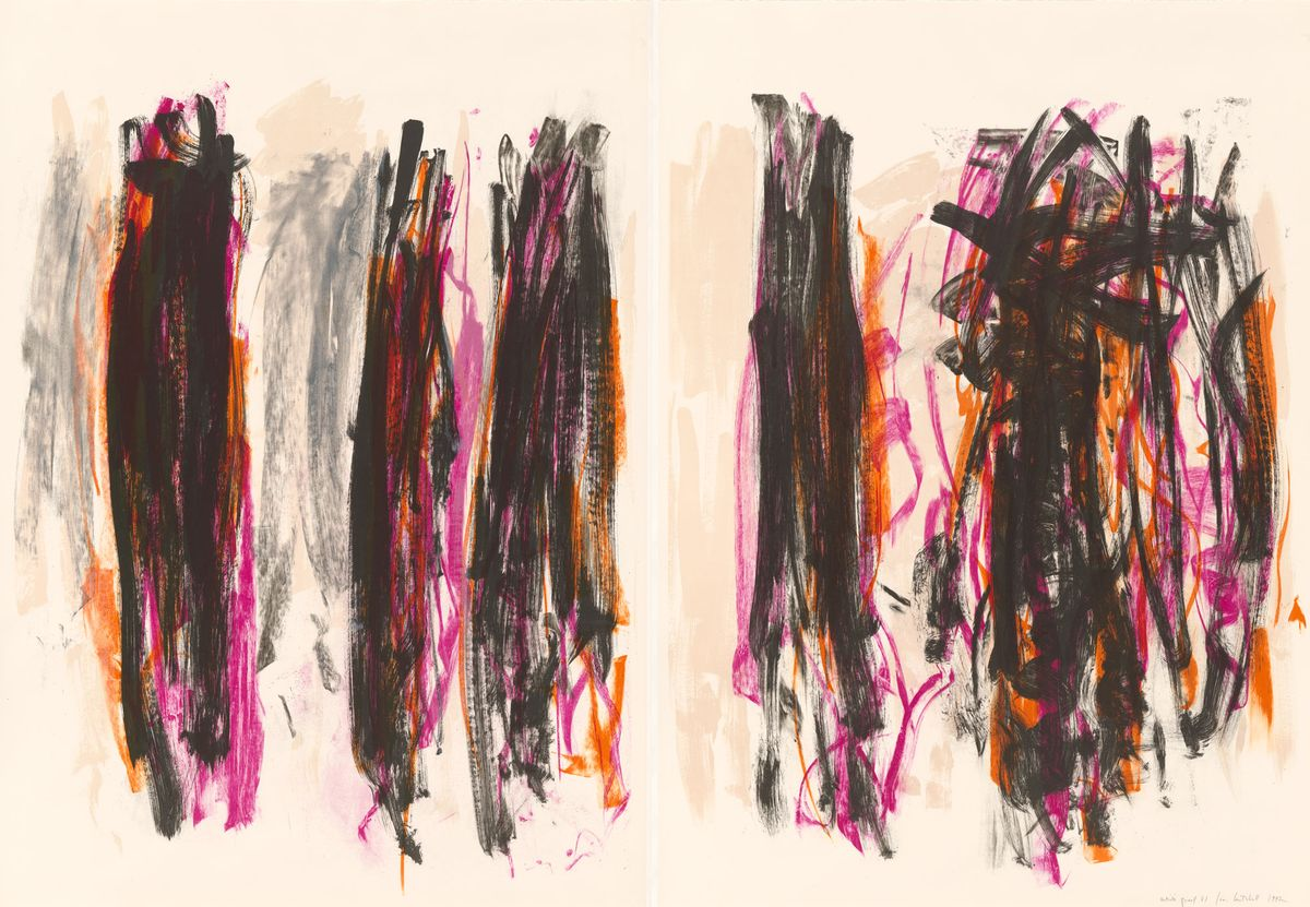 Black, pink and orange abstract expressionist painting