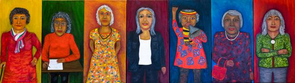 #1 Dorothy#2 Doreen#3 Joanne#4 Marcia#6 Val#6 Lowitja #7 Sandra7 women who have inspired Sandra throughout her life, inspired by the 7 Sisters in a way, in that Sandra has painted 7 strong women.Sandra Saunders, Ngarrindjeri people, South Australia, born Millicent, South Australia 1947, Deadly Women, 2021, Wangary, South Australia, oil on canvas, seven panels, 91.0 x 41.0 cm (each) © Sandra Saunders