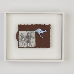 Anna Davern, The New World, 2019, Image cut from biscuit tin, paper on masonite with rotating dial mechanism (brass, silver), 150 x 200 mm.