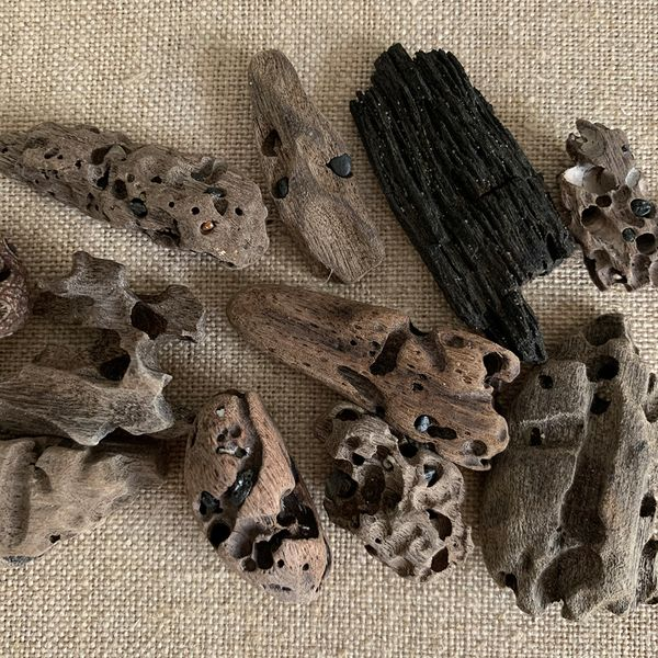 Pieces of driftwood on a hessian backing
