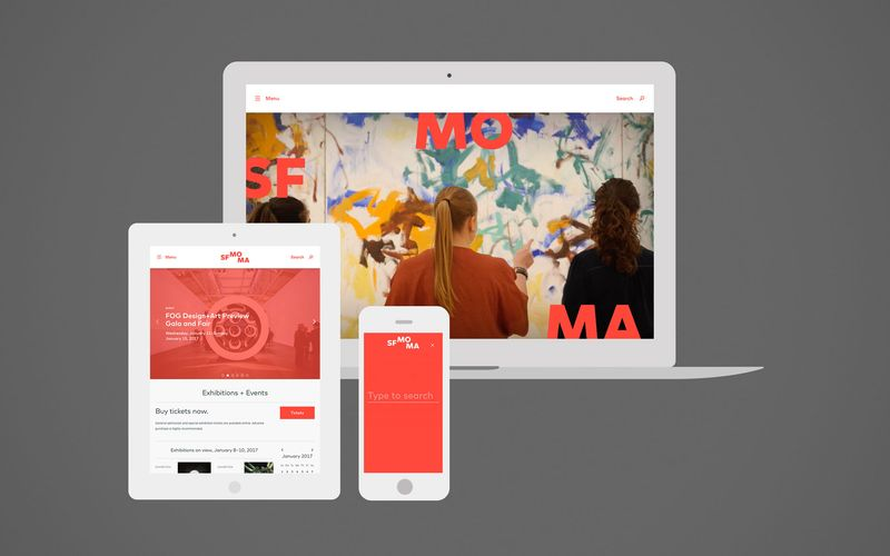 Screen shots of SFMOMA website in various device mockups