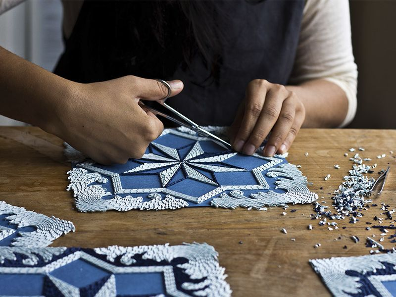 Gunjan Aylawadi, making of HAKK, 2015, Archival safe, curled papers on card. Photo: courtesy of the artist.
