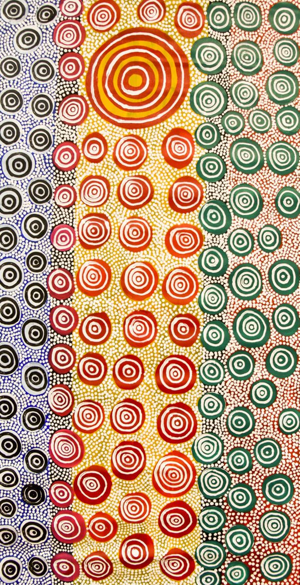 Stephen Pitjara, Alyawarr people, Northern Territory, born 1963, Utopia, Alyawarra, Northern Territory, Wild Communities, 2019, Adelaide, synthetic polymer paint on canvas, 121.0 x 63.0 cm; © Stephen Pitjara.